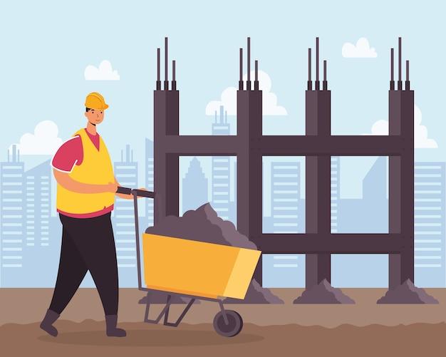 Trabalhador de construtor com desenho de ilustração vetorial de cena de carrinho de mão