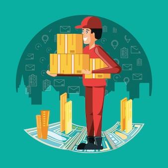 Trabalhador de correio com serviço de logística de caixas