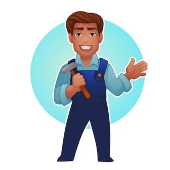 Trabalhador de desenho animado, homem profissional para seu mascote