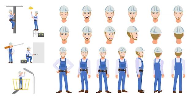 Trabalhador de eletricista trabalhador conjunto de caracteres dos desenhos animados e animação