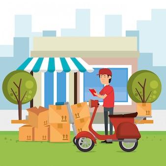 Trabalhador de entrega com moto