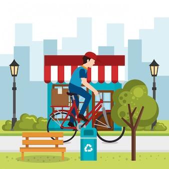 Trabalhador de entrega em bicicleta