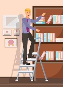 Trabalhador de escritório, atingindo a ilustração plana de documentos