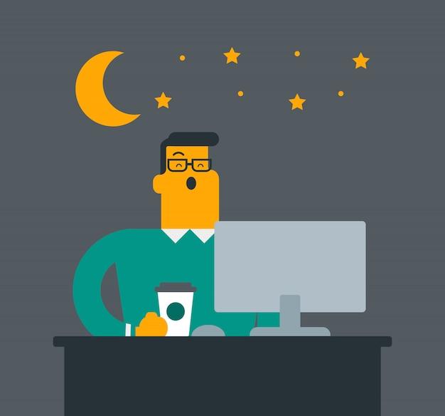 Trabalhador de escritório cansado branco caucasiano novo que boceja.