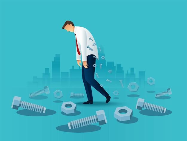 Trabalhador de escritório cansado do homem de negócios. conceito sobrecarregado
