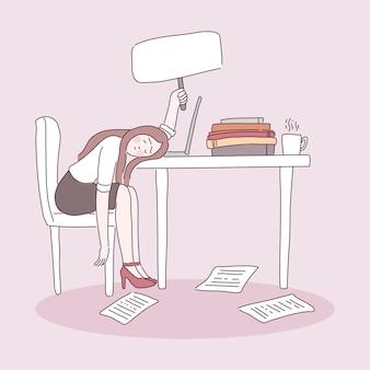 Trabalhador de escritório cansado sentado na cadeira
