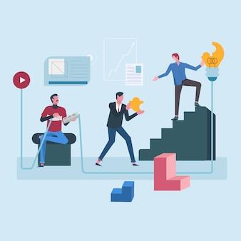 Trabalhador de escritório colaborador para objetivos da empresa