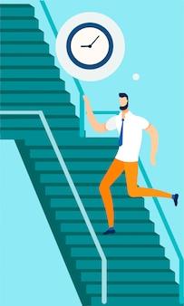 Trabalhador de escritório, correndo para o trabalho até escadas dos desenhos animados