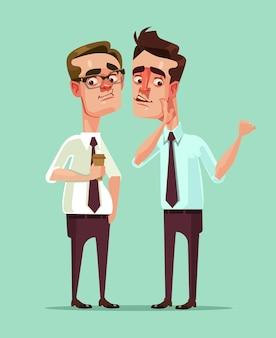 Trabalhador de escritório de homem diz rumores para outro personagem de homem. desenho animado