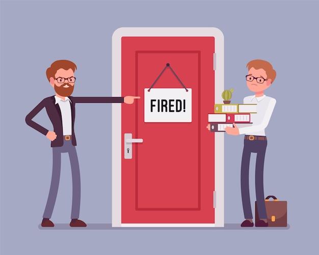 Trabalhador de escritório demitido e chefe