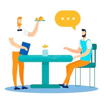 Trabalhador de escritório e diálogo de garçom no cafe cartoon