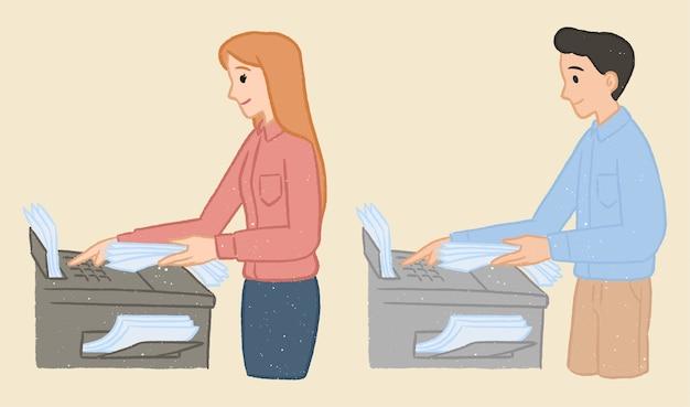 Trabalhador de escritório em personagem de desenho animado de máquina fotocopiadora