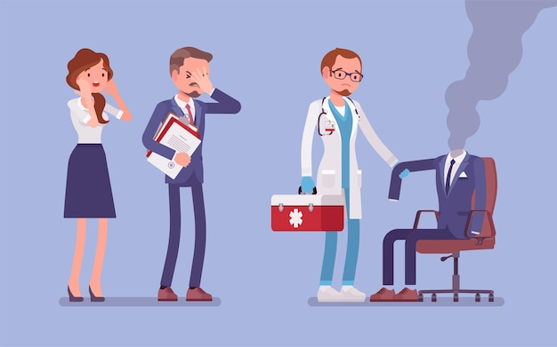 Trabalhador de escritório esgotado e um médico