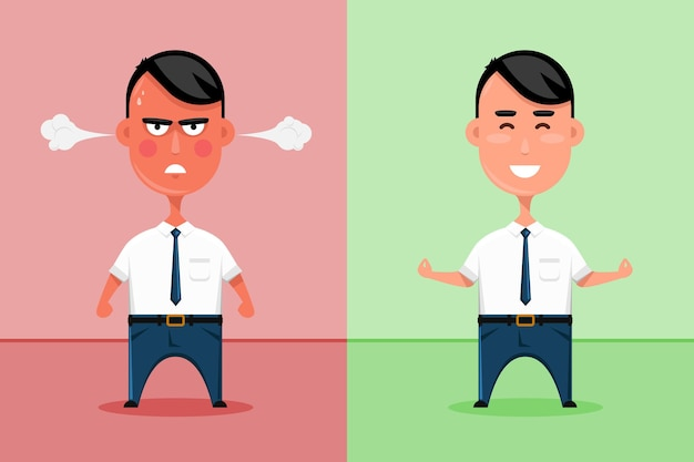 Trabalhador de escritório feliz e zangado ou ilustração de homem de negócios triste e sorridente.