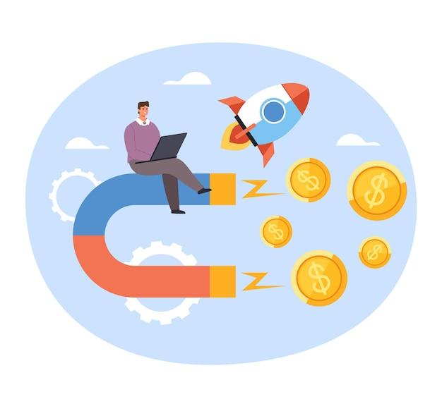 Trabalhador de escritório feliz empresário atrair salário de lucro de dinheiro de ímã. novo conceito de arranque de negócios de sucesso.