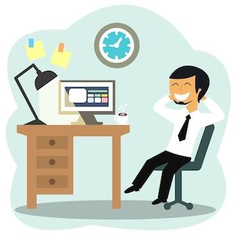 Trabalhador de escritório feliz