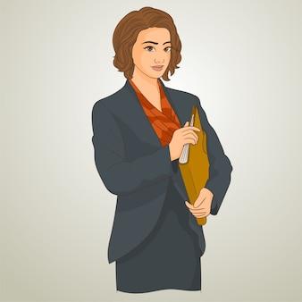 Trabalhador de escritório feminino com uma pasta