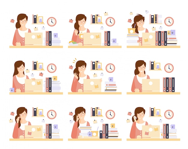 Trabalhador de escritório feminino em seu cubículo trabalhando conjunto de ilustrações