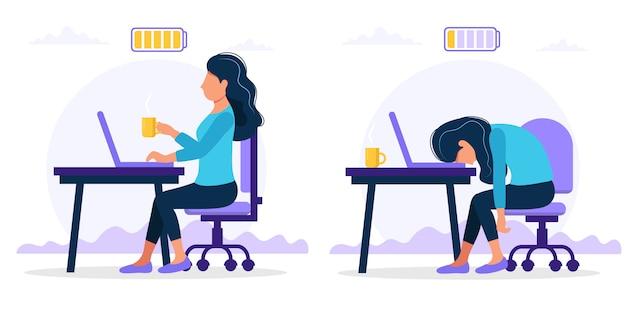 Trabalhador de escritório feminino feliz e exausto, sentado à mesa com a bateria cheia e baixa.