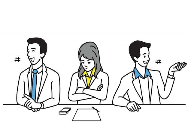 Trabalhador de escritório introvertido