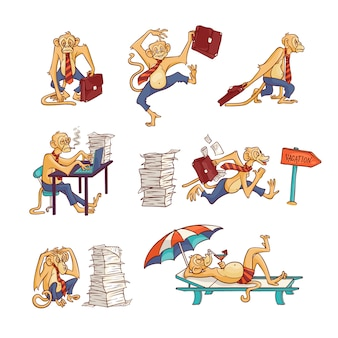 Trabalhador de escritório macaco conjunto com excesso de trabalho e relaxante na praia animal peludo em calças de negócios e gravata com maleta ou em trajes de banho
