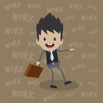 Trabalhador de escritório no desenho animado empregado de tarefa completa de trabalho