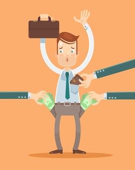 Trabalhador de escritório obtém ilustração plana de roubo