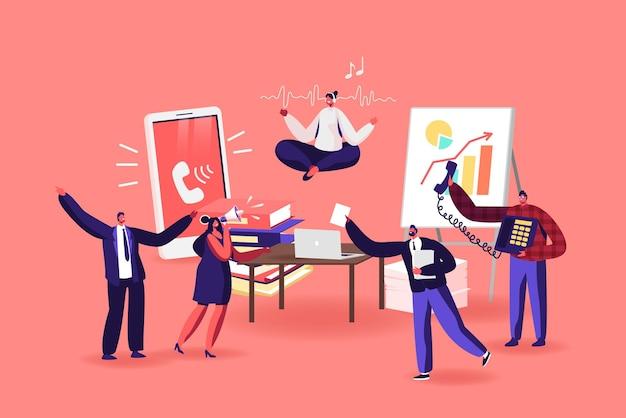 Trabalhador de escritório personagem feminino meditando no local de trabalho. mulher de negócios relaxada na posição de lótus fazendo ioga subindo sobre a mesa no escritório bagunçado. pausa calma para funcionários. ilustração em vetor desenho animado