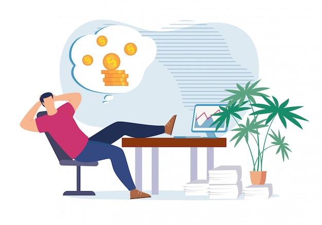 Trabalhador de escritório preguiçoso sonhando com dinheiro e riqueza