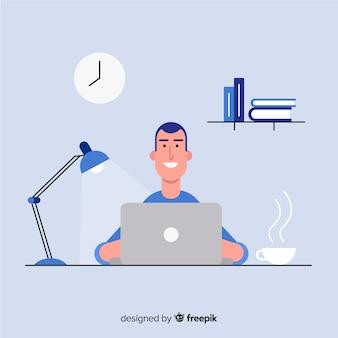 Trabalhador de escritório profissional com design plano