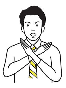 Trabalhador de escritório sem fazer sinal com a mão ou símbolo x