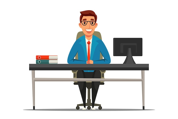 Trabalhador de escritório, sorrindo empregado em personagem de desenho animado de escritório privado em copos, sentado à mesa.