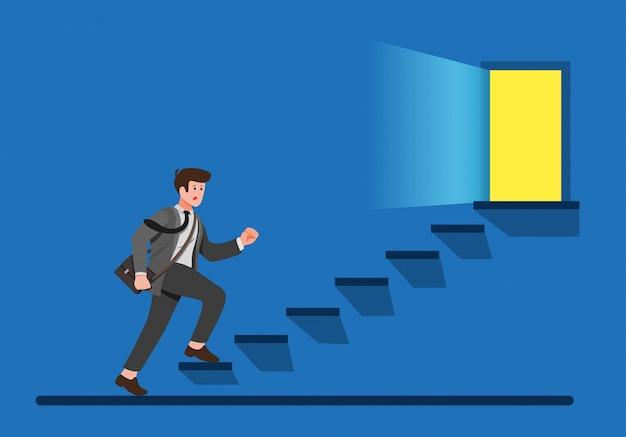 Trabalhador de escritório subindo escadas para porta de saída, homem de negócios, encontrar o caminho para escapar da ilustração plana dos desenhos animados