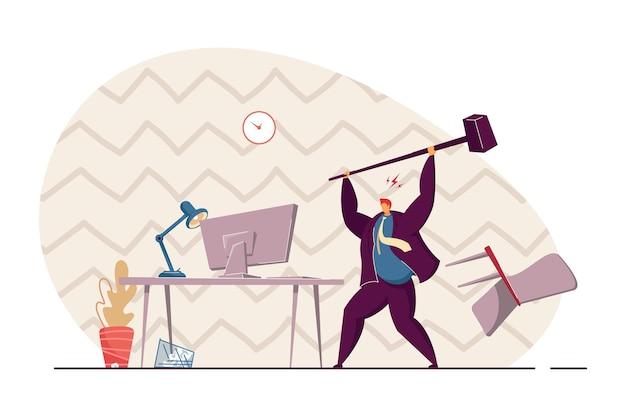 Trabalhador de escritório zangado quebrando computador com ilustração plana de martelo