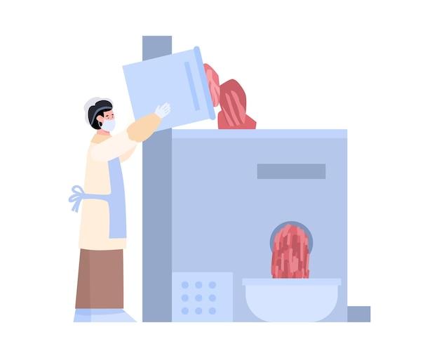 Trabalhador de fábrica de carne servindo ilustração de desenho animado de moedor de carne