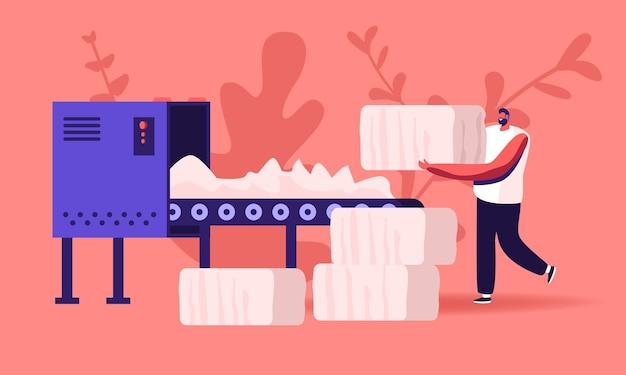 Trabalhador de fábrica têxtil de homem. ilustração plana dos desenhos animados