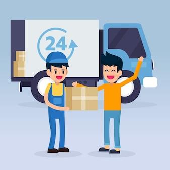 Trabalhador de homem de serviço de entrega rápida e van carro, enviado formulário de caixa de ordem compras on-line