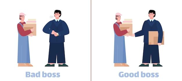 Trabalhador de interação de chefe mau e bom e empresário, uma ilustração vetorial