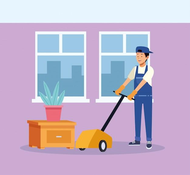 Trabalhador de limpeza com máquina de engraxar os pés