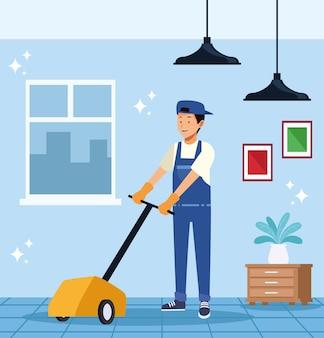 Trabalhador de limpeza com piso elétrico