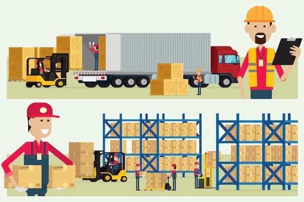 Trabalhador de logística de armazém de transporte, verificação de mercadorias com vetor de ilustração de caixa de carga de trabalhadores