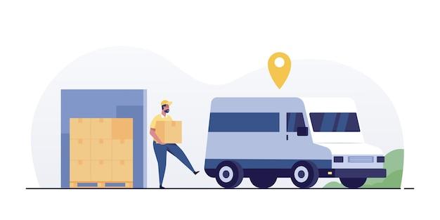 Trabalhador de logística e caminhão de carregamento de correio.