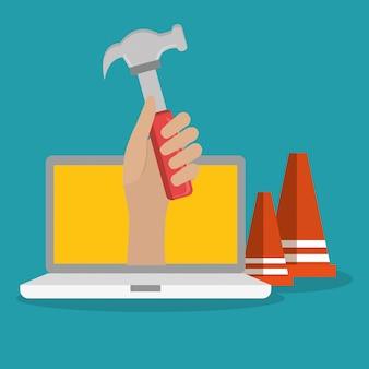 Trabalhador de mão em construção com laptop