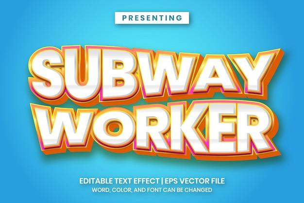 Trabalhador de metrô - texto editável de estilo de jogo dos desenhos animados