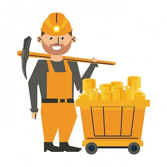 Trabalhador de mineração com picareta e vagão