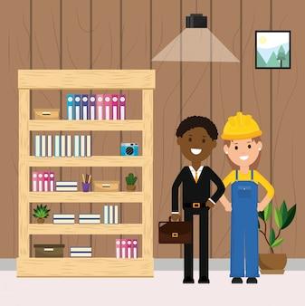 Trabalhador de mulher e empresário estante planta e quadro ilustração