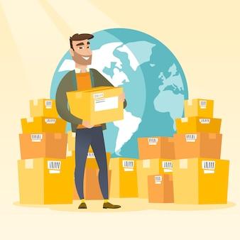 Trabalhador de negócios de serviço de entrega internacional.