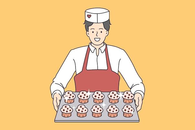 Trabalhador de panificação de pastelaria com bandeja de cupcakes. ilustração do conceito de vetor de padeiro de sobremesas servindo bolinhos doces.