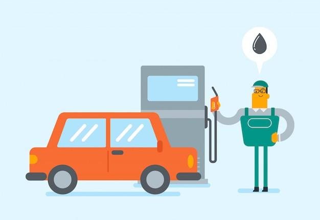 Trabalhador de posto de gasolina branco caucasiano reabastecer um carro