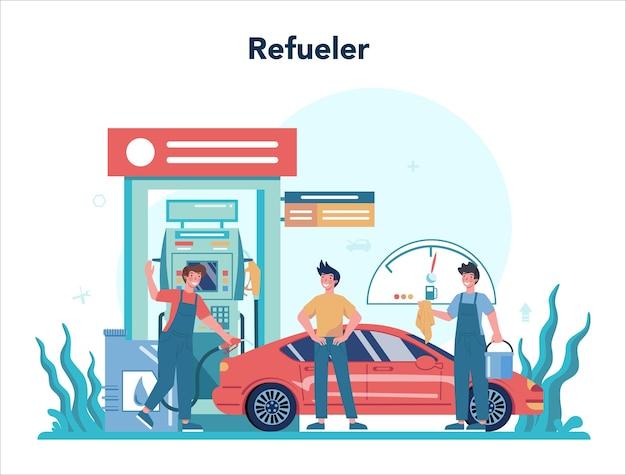 Trabalhador de posto de gasolina ou conceito de reabastecedor. trabalhador de uniforme trabalhando